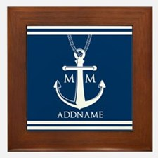 Navy Blue And White Nautical Boat Anch Framed Tile