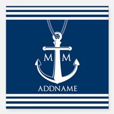 """Navy Blue And White Naut Square Car Magnet 3"""" x 3"""""""