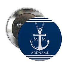 """Navy Blue And White Nautical Boat Anc 2.25"""" Button"""