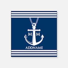 "Navy Blue And White Nautica Square Sticker 3"" x 3"""