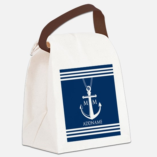 Navy Blue And White Nautical Boat Canvas Lunch Bag