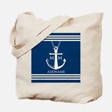 Navy Blue And White Nautical Boat Anchor Tote Bag
