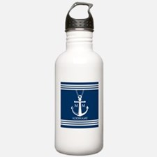 Navy Blue And White Na Water Bottle