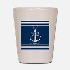 Navy Blue And White Nautical Boat Ancho Shot Glass