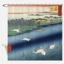 Vintage Japanese painting of cranes Shower Curtain
