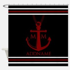 Nautical Anchor and Rope Monogram Shower Curtain