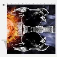 haunted flames gothic crow Shower Curtain