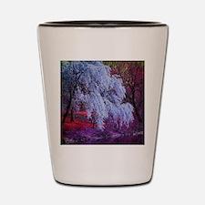 landscape purple cherry blossom Shot Glass