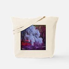 landscape purple cherry blossom Tote Bag