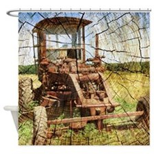rustic farm old tractor Shower Curtain
