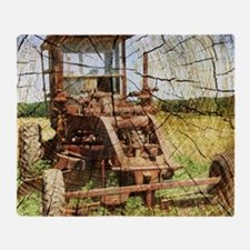 rustic farm old tractor Throw Blanket