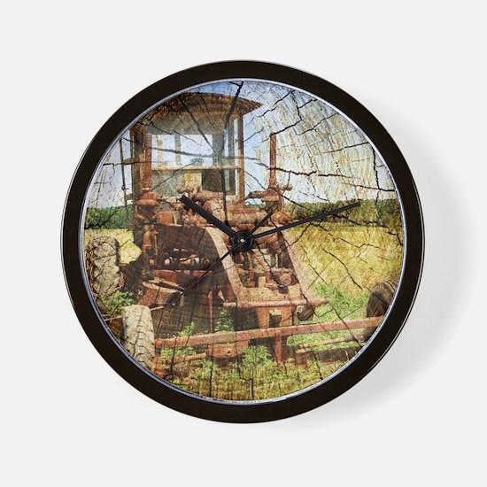 rustic farm old tractor Wall Clock