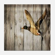 rustic western wood duck Tile Coaster