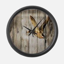 rustic western wood duck Large Wall Clock