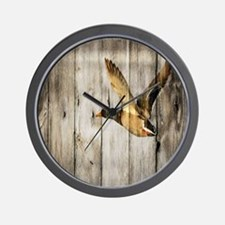 rustic western wood duck Wall Clock