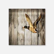 "rustic western wood duck Square Sticker 3"" x 3"""