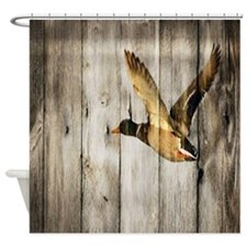 rustic western wood duck Shower Curtain