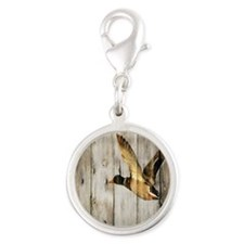 rustic western wood duck Silver Round Charm