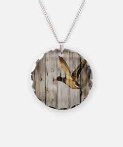 rustic western wood duck Necklace