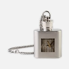 rustic western wood duck Flask Necklace