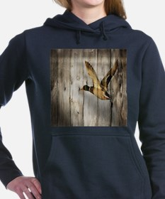 rustic western wood duck Women's Hooded Sweatshirt