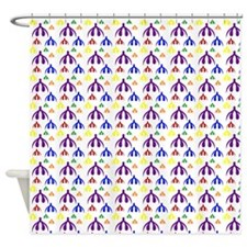 Rainbow Clits on White Shower Curtain