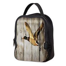 rustic western wood duck Neoprene Lunch Bag