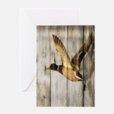 rustic western wood duck Greeting Cards