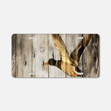 rustic western wood duck Aluminum License Plate