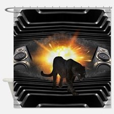 electric keyboard black panther Shower Curtain