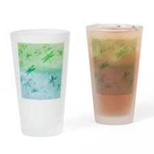 Vibrant Aqua Dragonflies Drinking Glass