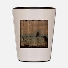 farm fence landscape bird  Shot Glass