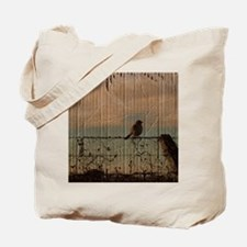 farm fence landscape bird  Tote Bag
