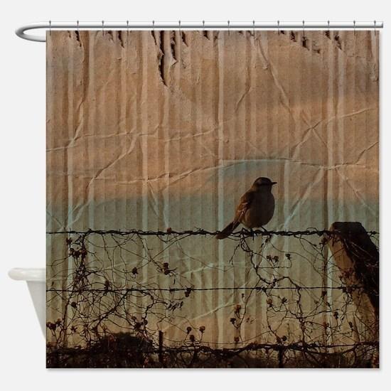 farm fence landscape bird  Shower Curtain