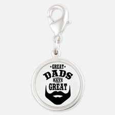 Bearded Dad Silver Round Charm