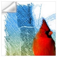 watercolor winter red cardinal Wall Decal