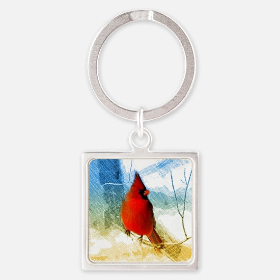 watercolor winter red cardinal Square Keychain