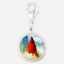 watercolor winter red cardinal Silver Round Charm