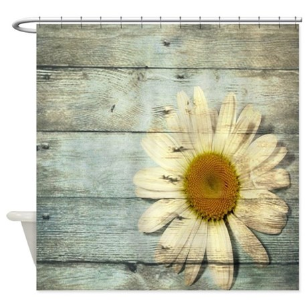 CafePress shabby chic country daisy Shower Curtain