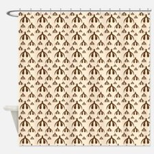 Brown Clits on Tan Shower Curtain