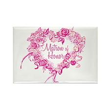 BP Pink Heart Matron of Honor Rectangle Magnet