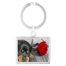 Rottweiler and Rose Keychains