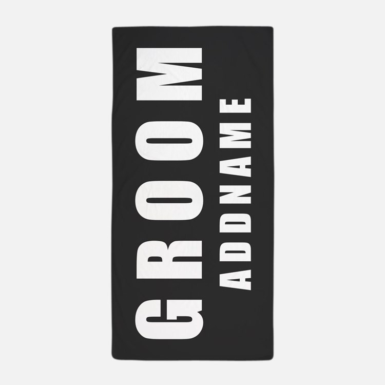 Personalized Groom on Gray Beach Towel