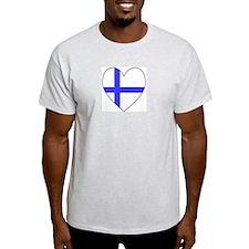 Finnish Flag Heart Ash Grey T-Shirt