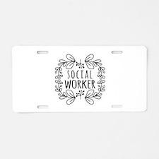 Hand-Drawn Wreath Social Wo Aluminum License Plate