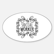 Hand-Drawn Wreath Social Worker Decal