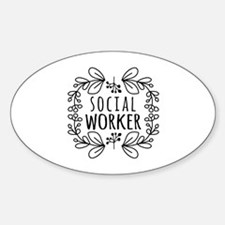 Hand-Drawn Wreath Social Worker Stickers