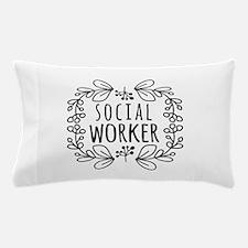 Hand-Drawn Wreath Social Worker Pillow Case