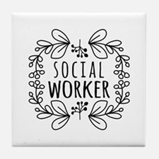 Hand-Drawn Wreath Social Worker Tile Coaster