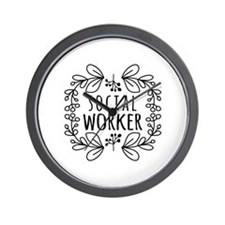 Hand-Drawn Wreath Social Worker Wall Clock